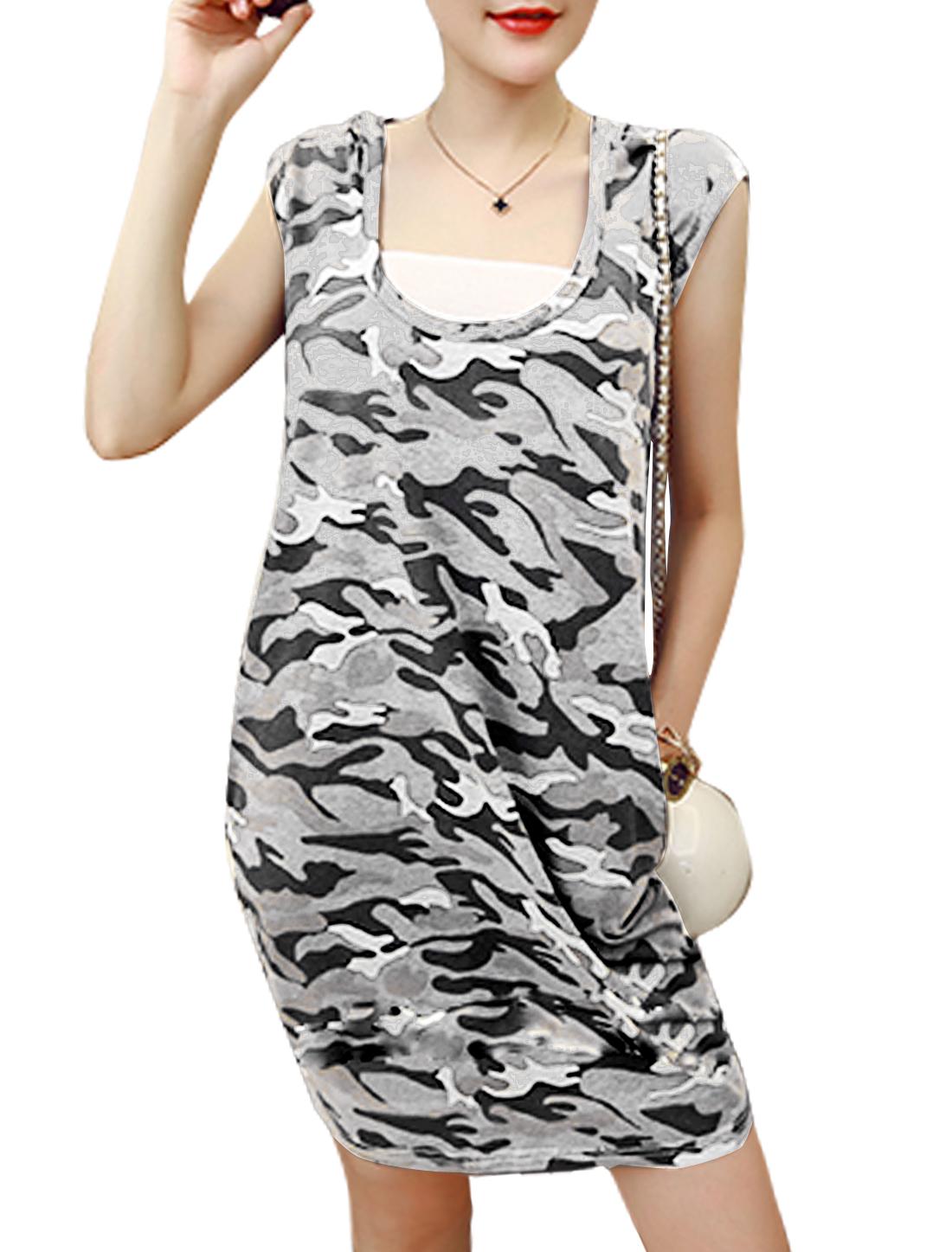 Women U Neck Cap Sleeve Hooded Camouflage Pattern Dress Gray S