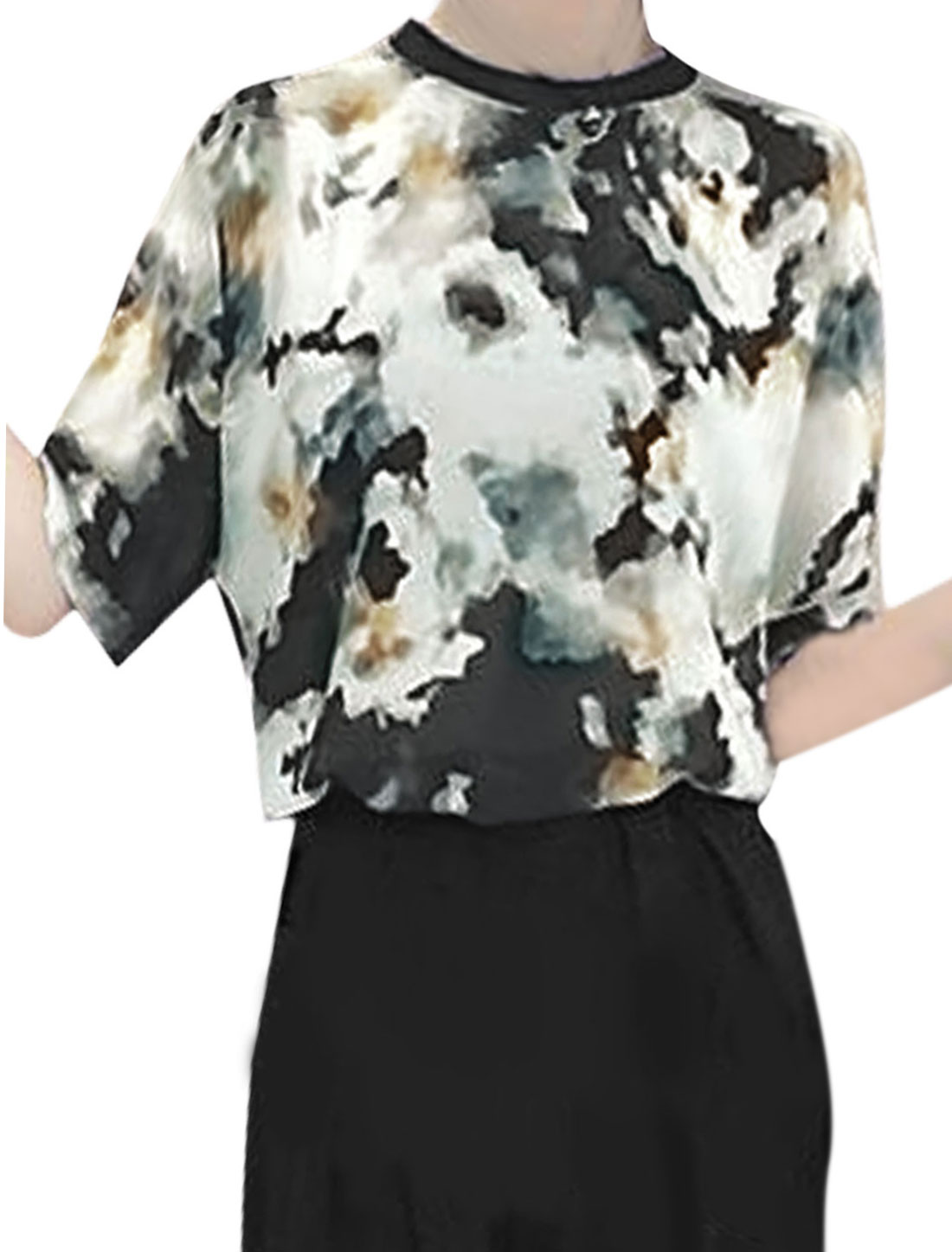 Women Short Sleeve Novelty Prints Retro Chiffon Tops Black White S
