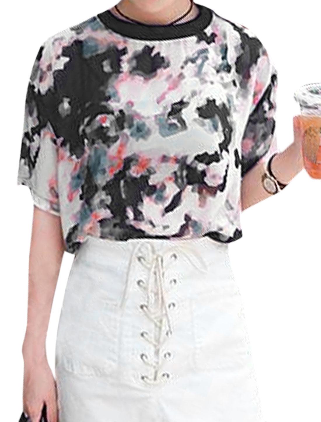Women Crew Neck Novelty Prints Casual Retro Tee Shirt Pink Black S