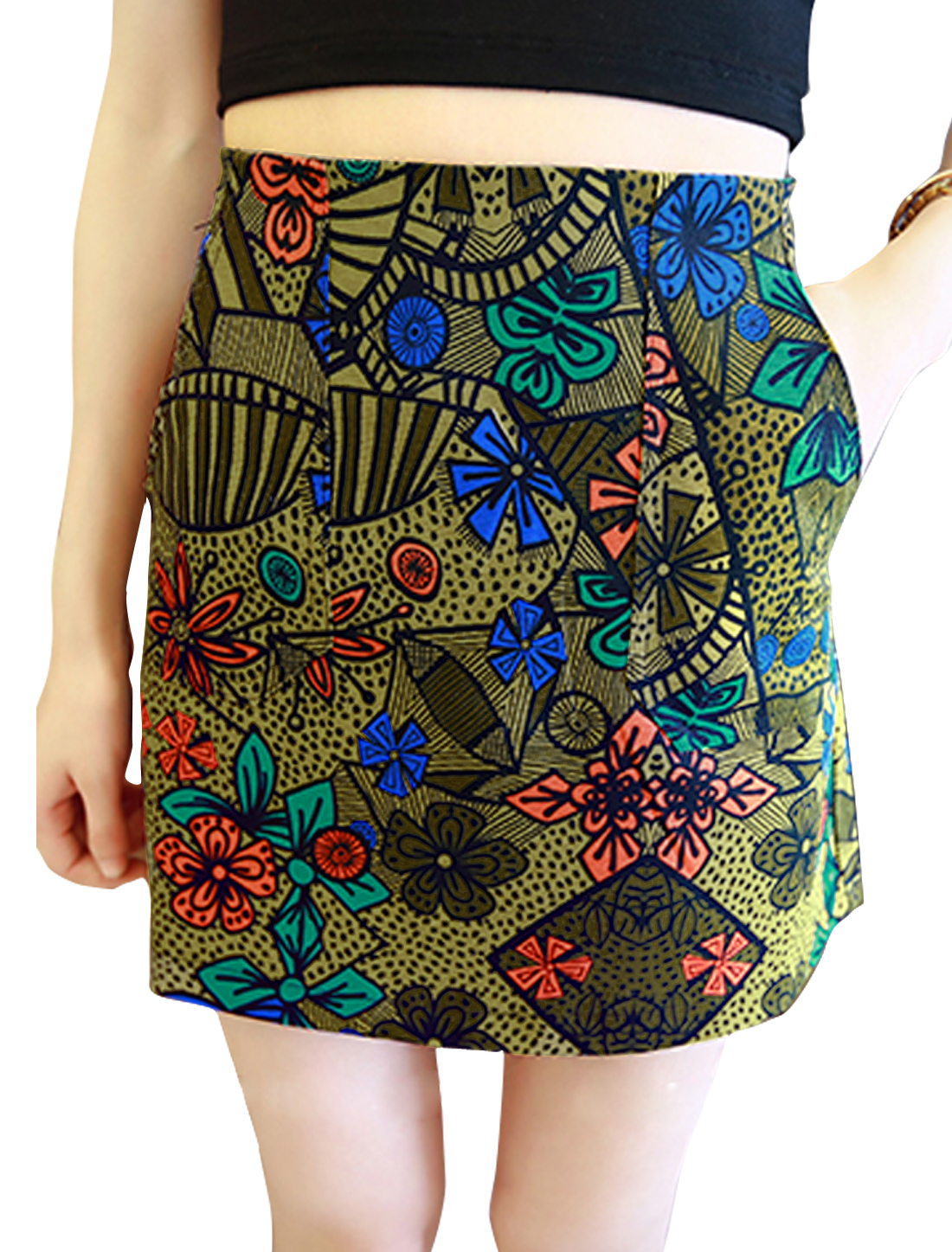 Ladies High Waist Floral Prints Mini Casual A Line Skirts Curry S
