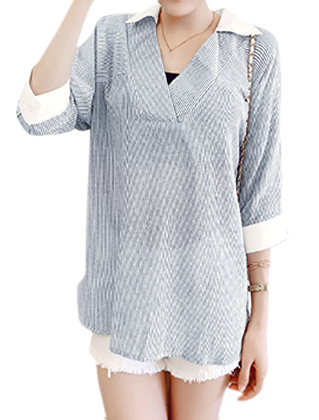 Ladies Turn Down Collar Stripes 3/4 Sleeve Casual Blouse Black White XS