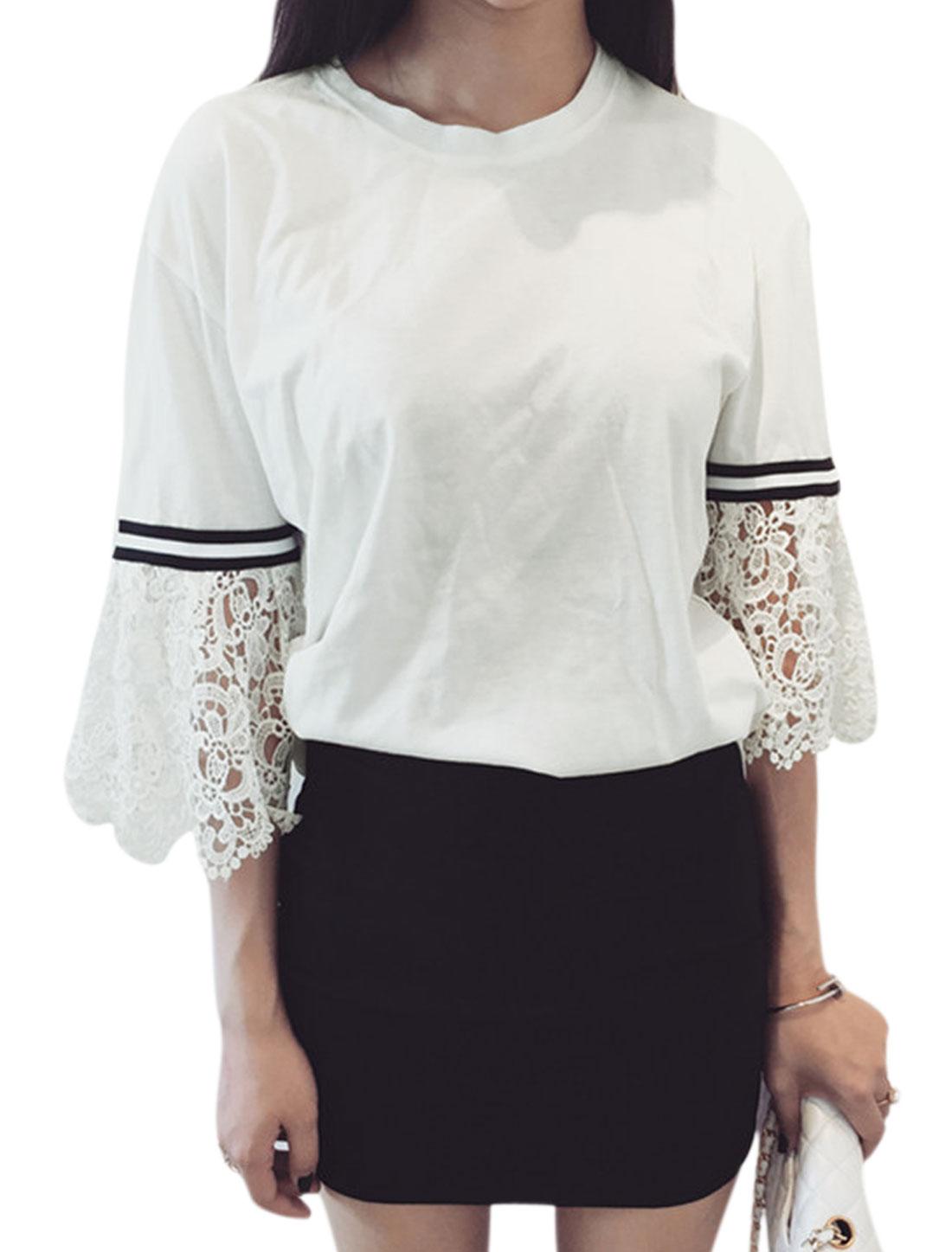 Women Crew Neck 3/4 Bell Sleeves Panel Design Shirt White XS