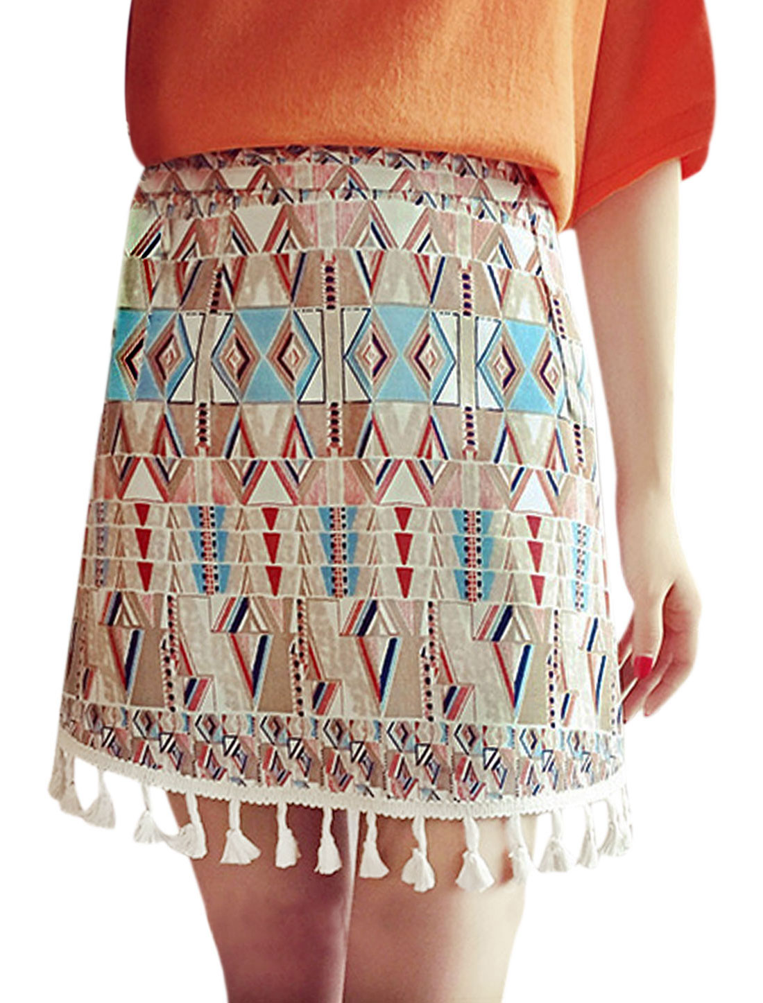 Woman Geometric Prints Tassesls Hem High Waist A Line Mini Skirt Red M