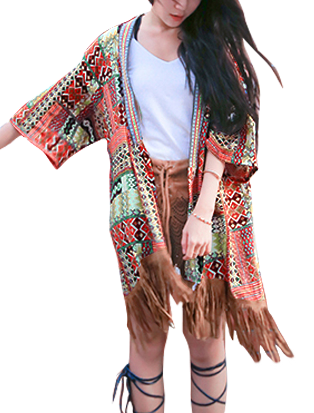 Women Tassels Hem Geometic Prints Tunic Cardigan Warm Red XS