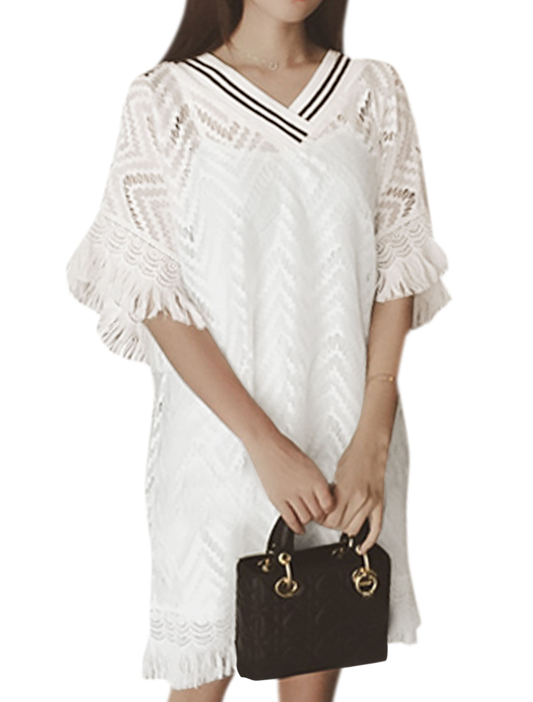Woman Hollow Out Fringed Trim Elbow Sleeves Lace Shift Dress White XS