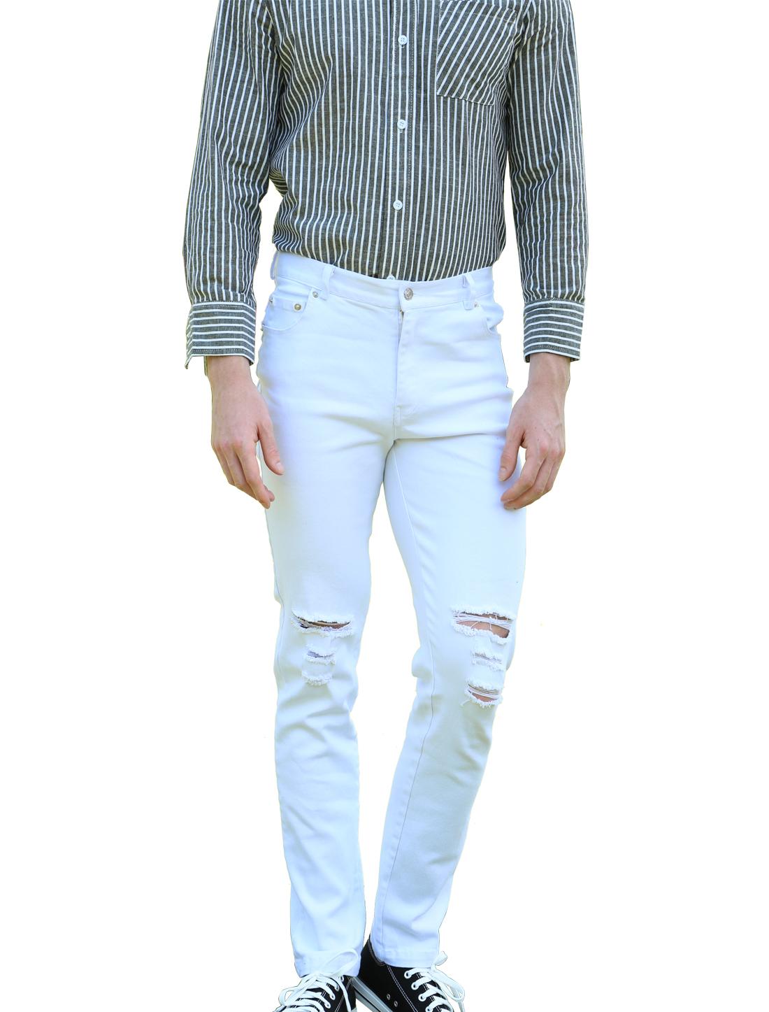 Men Knee Ripped Detail Distressed Slim Fit Jeans Denim Pants White W30