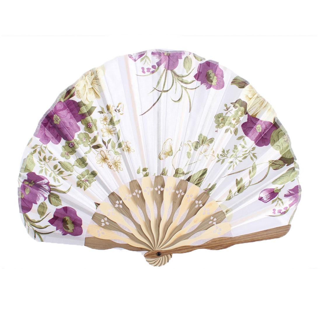 Wood Ribs Seashell Shape Flower Printed Foldable Hand Fan White