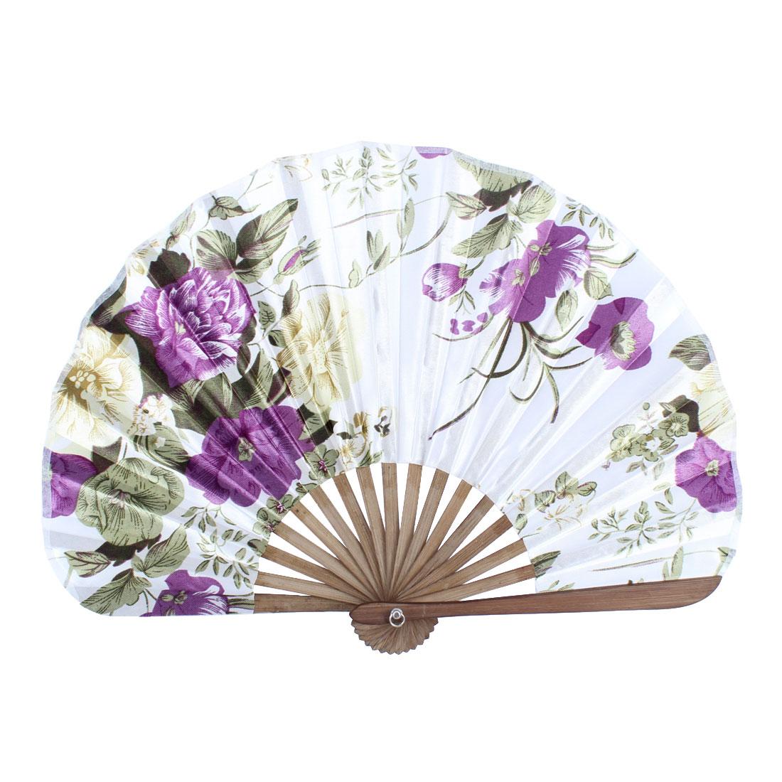 Wood Ribs Seashell Shape Flower Printed Folding Hand Fan White Purple
