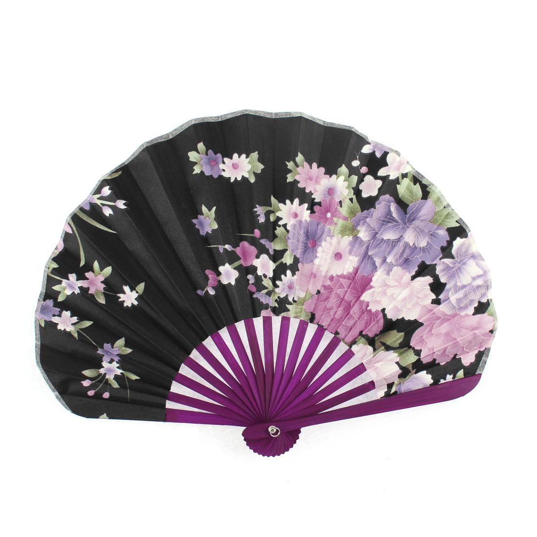 Wood Ribs Seashell Shape Chrysanthemum Pattern Folding Hand Fan Black