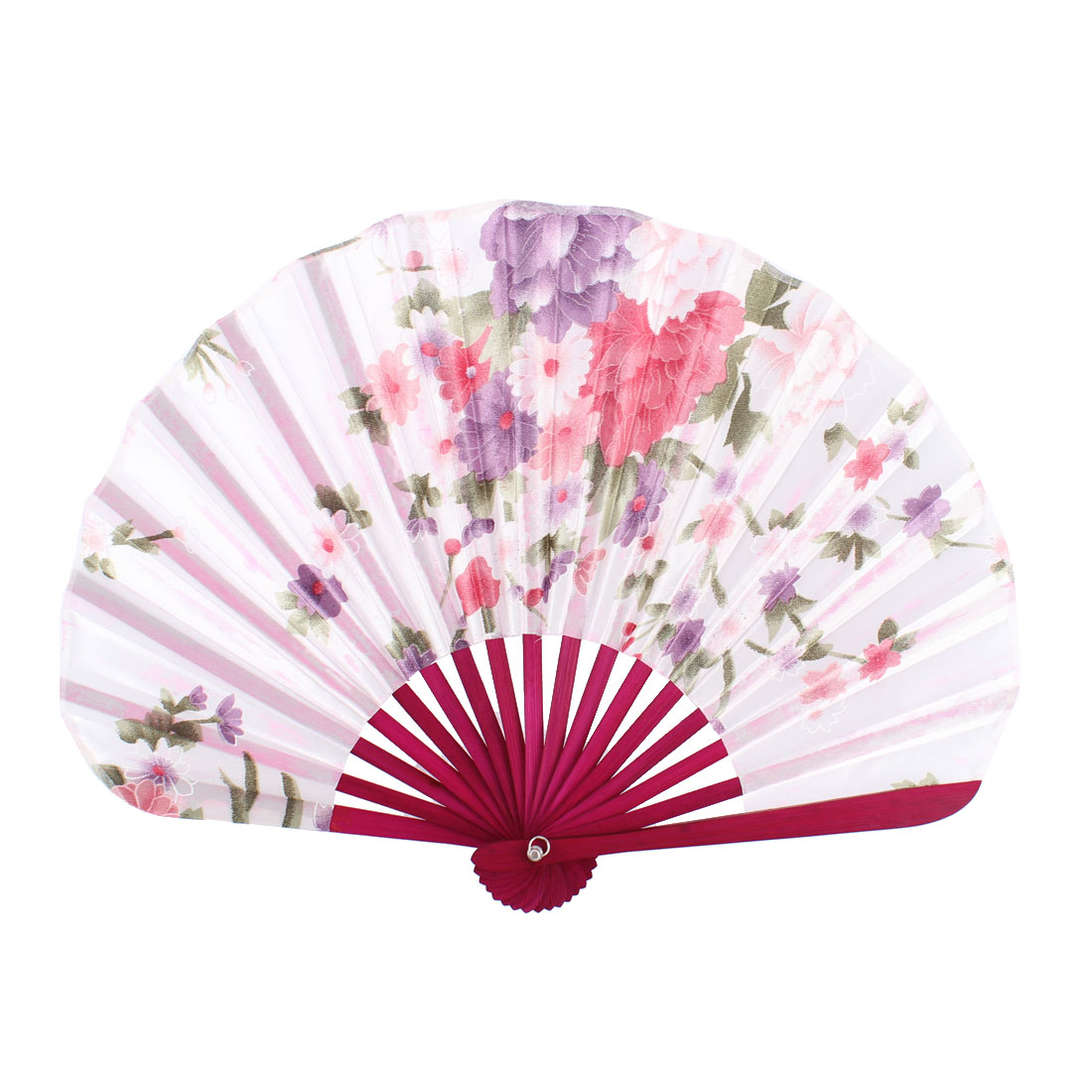 Wood Ribs Seashell Shape Chrysanthemum Pattern Folding Hand Fan White Burgundy