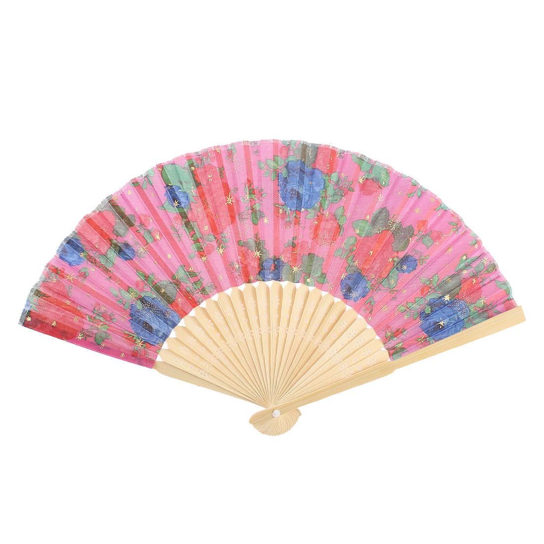 Booming Flower Pattern Wood Rib Foldable Summer Hand Fan Fuchsia Beige