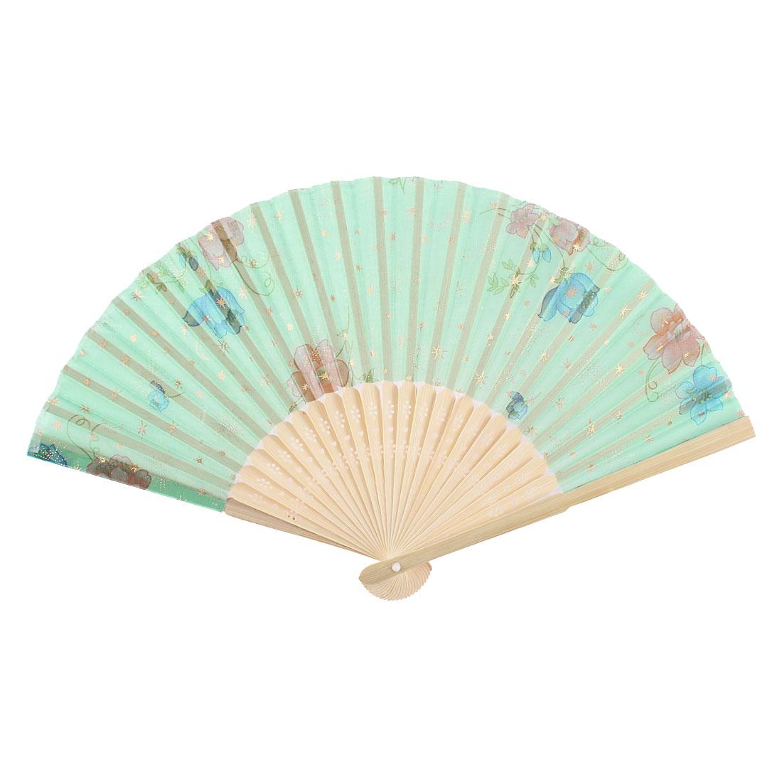Morning Glory Pattern Wood Rib Folding Summer Hand Fan Green Beige