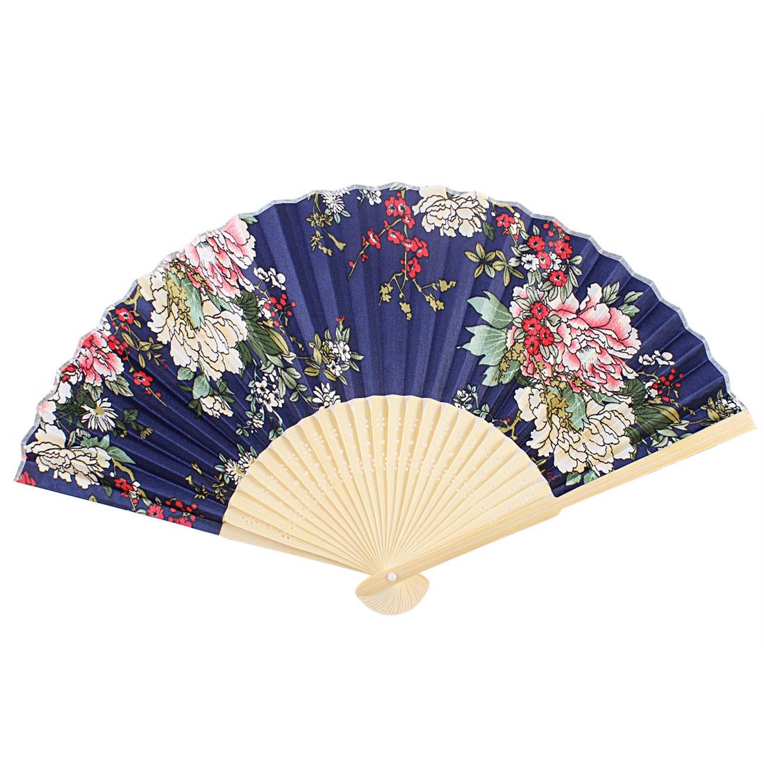 Chrysanthemum Pattern Wood Rib Foldable Portable Hand Fan Dark Blue for Lady