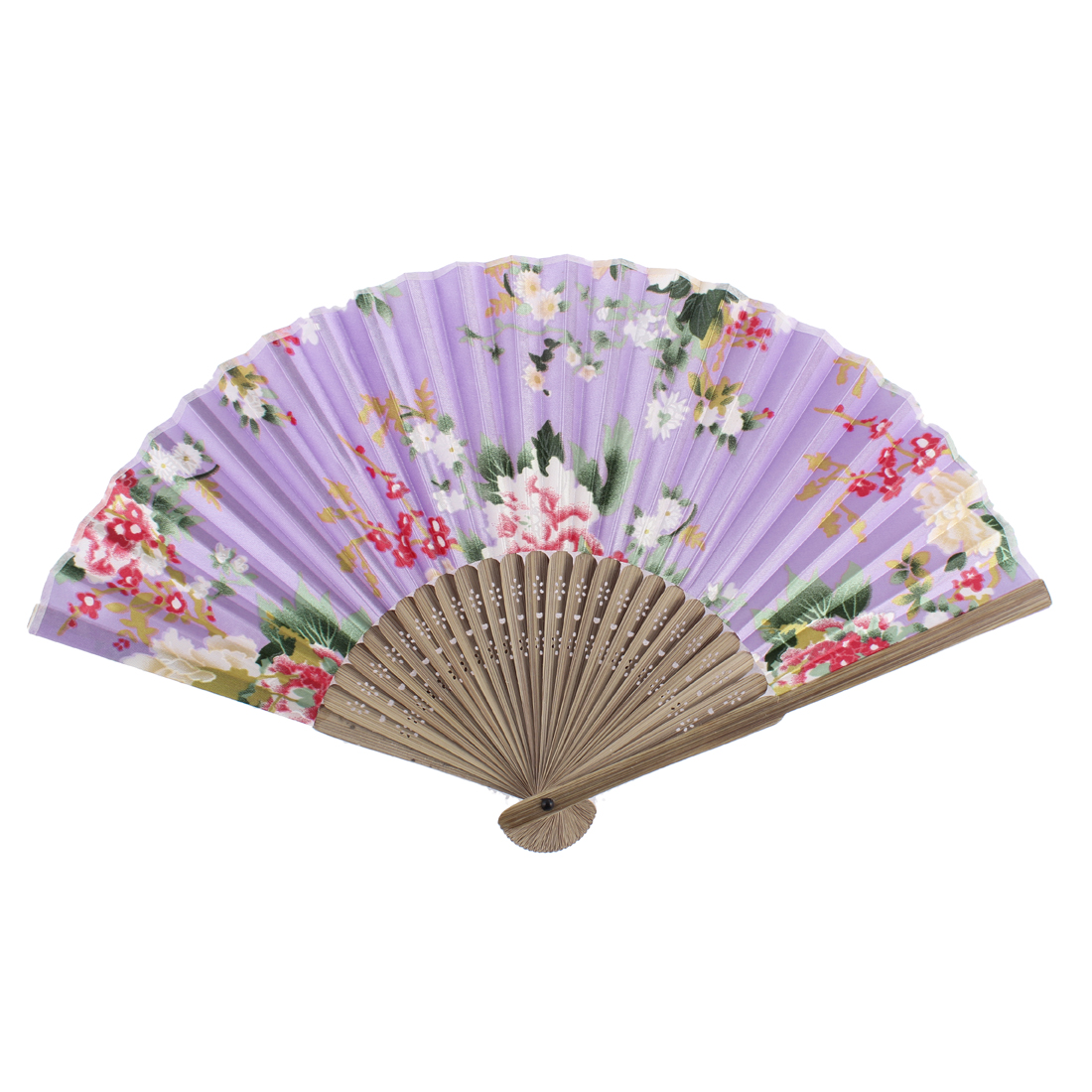 Flower Pattern Wood Rib Foldable Summer Portable Hand Fan Purple Light Brown