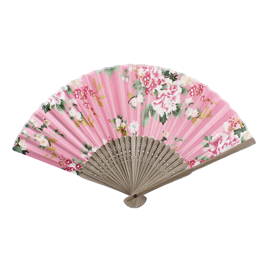 Flower Printed Wood Rib Foldable Summer Portable Hand Fan Pink Light Brown