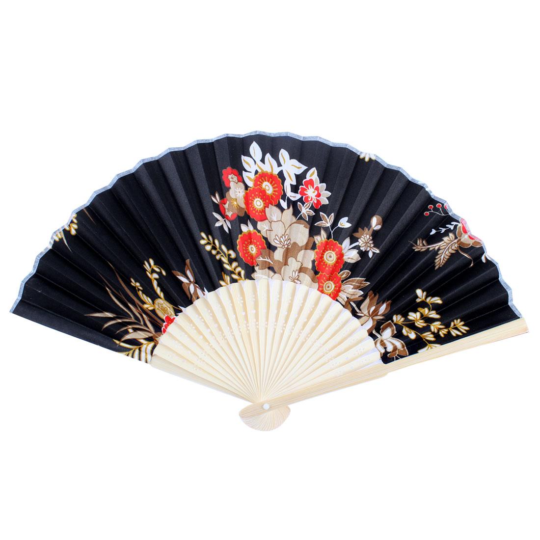 Wood Carved Frame Floral Printed Foldable Portable Summer Hand Fan Black