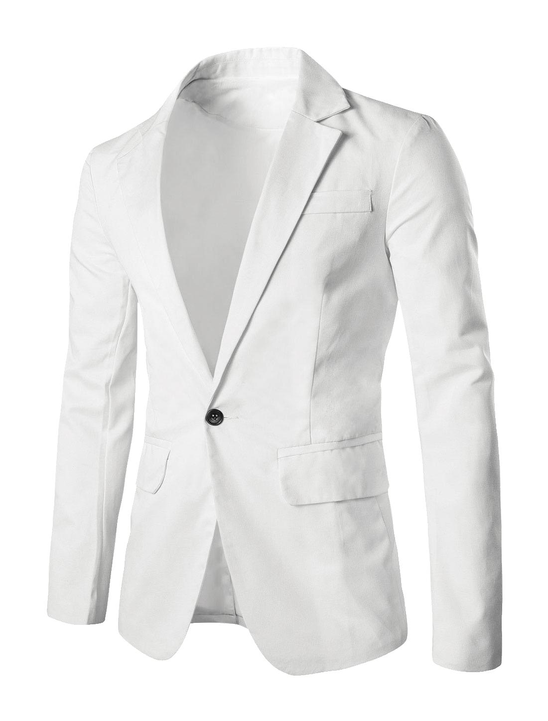Men Notched Lapel Center-Vent Back Button Closed Casual Blazer White L
