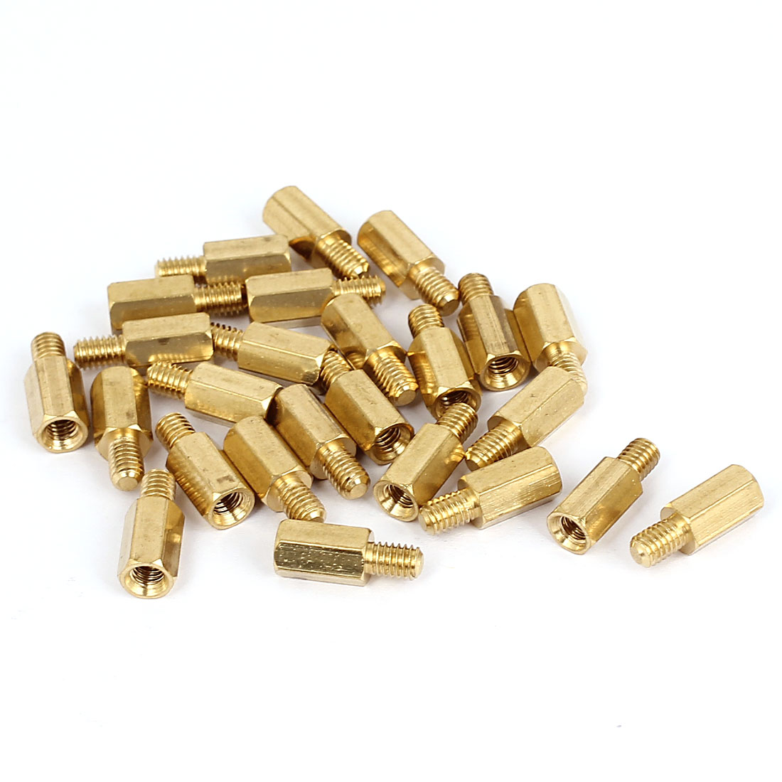 M4x10+6mm Female/Male Thread Brass Hex Standoff Pillar Spacer Coupler Nut 25pcs