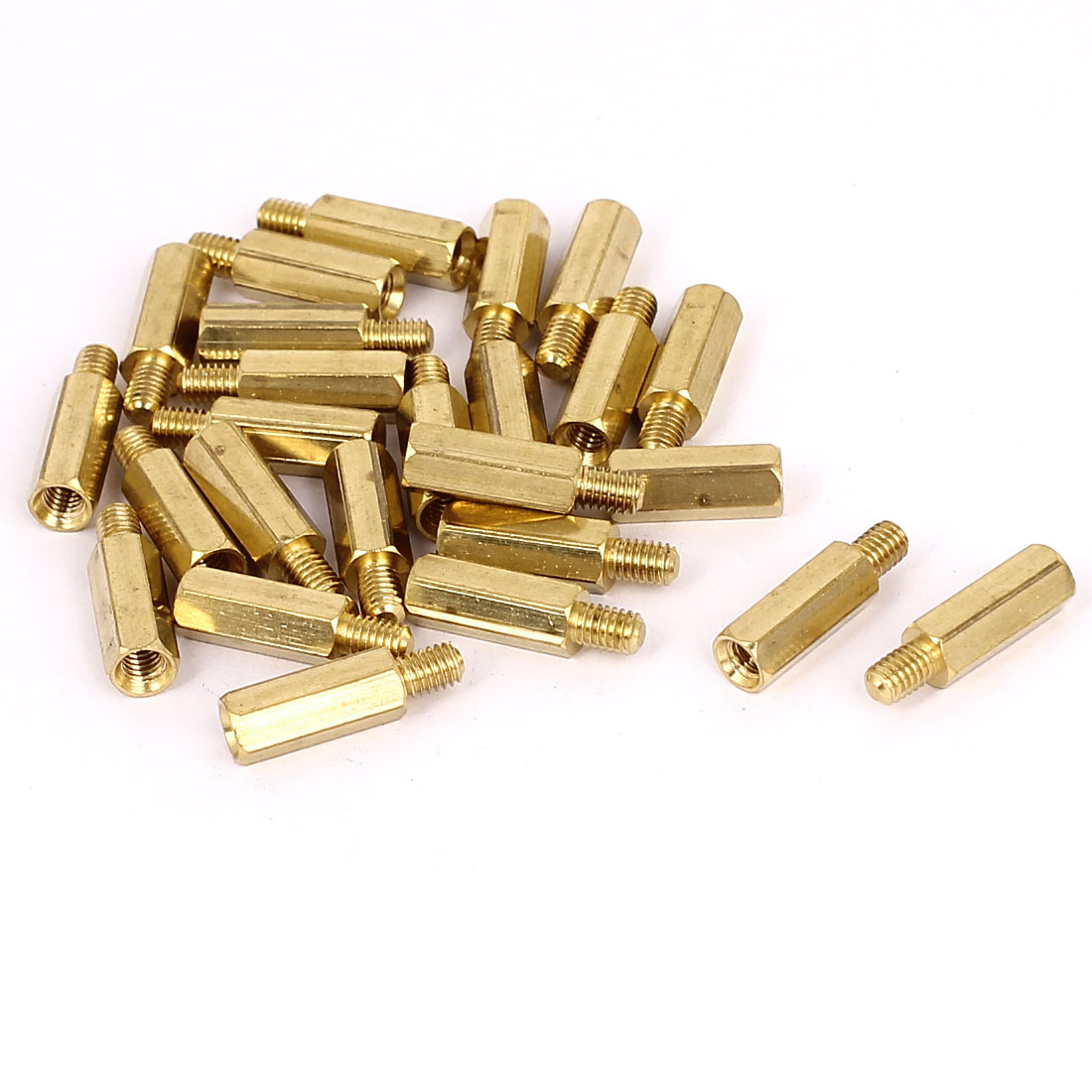 M4x15+6mm Female/Male Thread Brass Hex Standoff Pillar Spacer Coupler Nut 25pcs