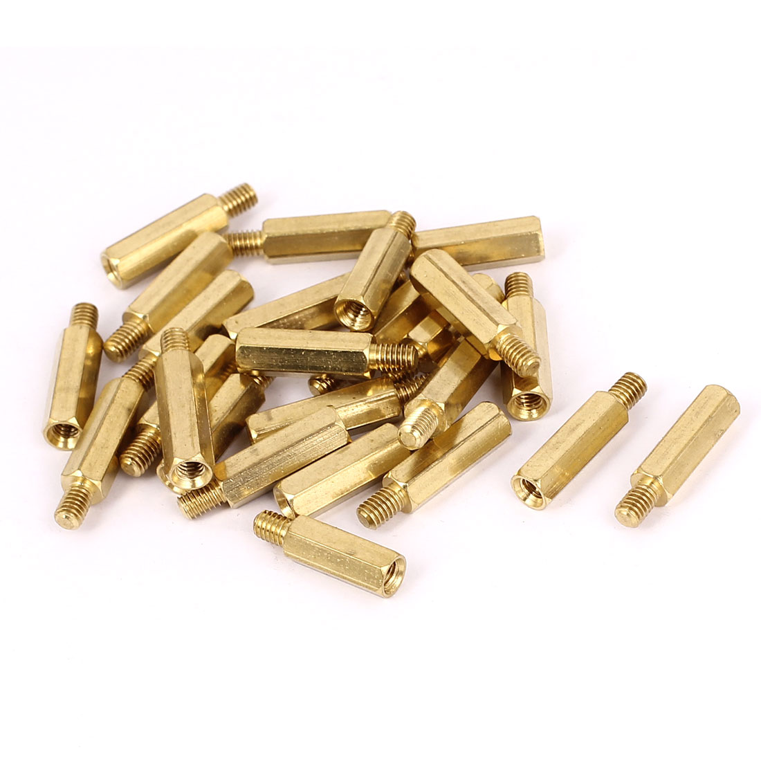 M4x18+6mm Female/Male Thread Brass Hex Standoff Pillar Spacer Coupler Nut 25pcs