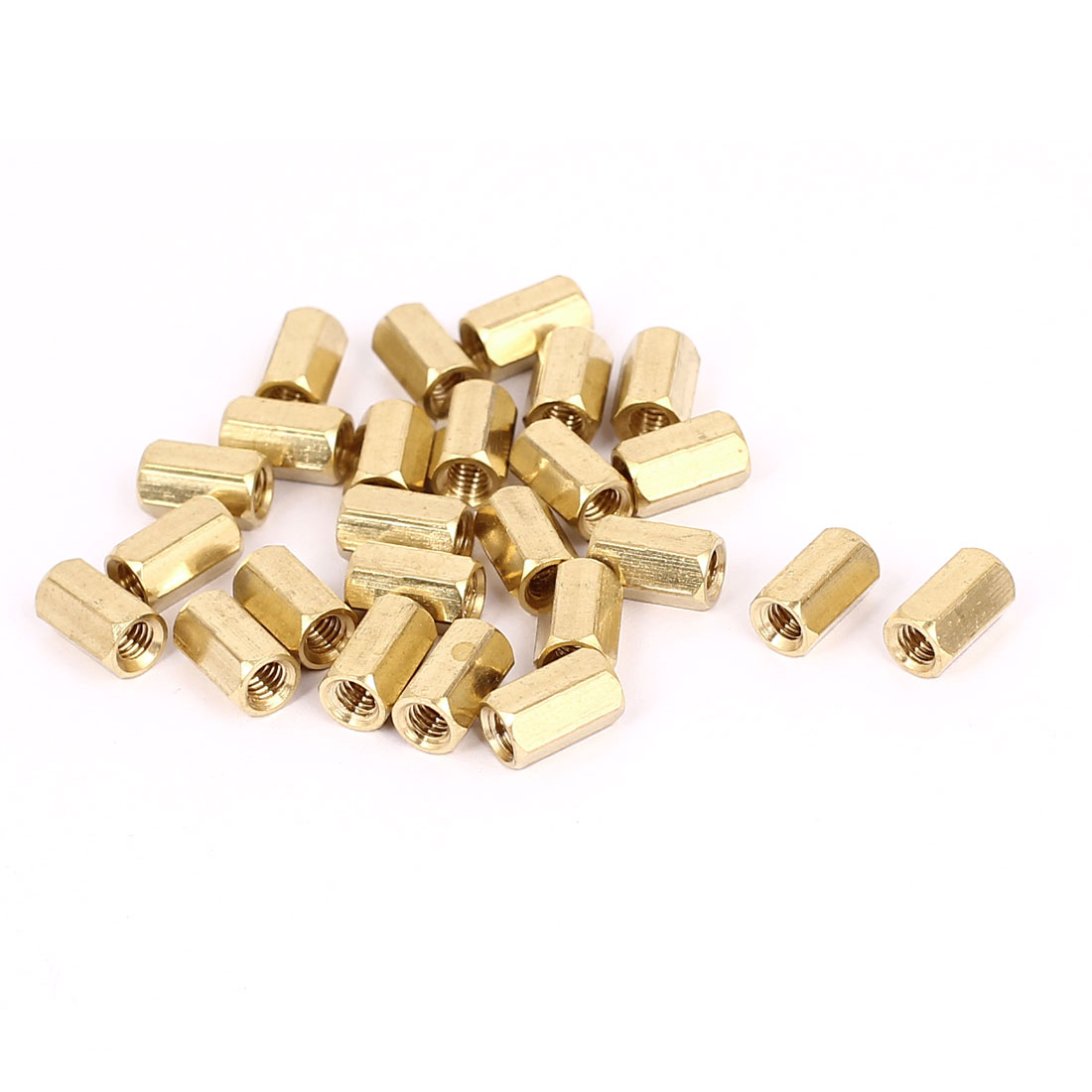 M4 x 10mm Female Thread Brass Hex Standoff Pillar Rod Spacer Coupler Nut 25pcs