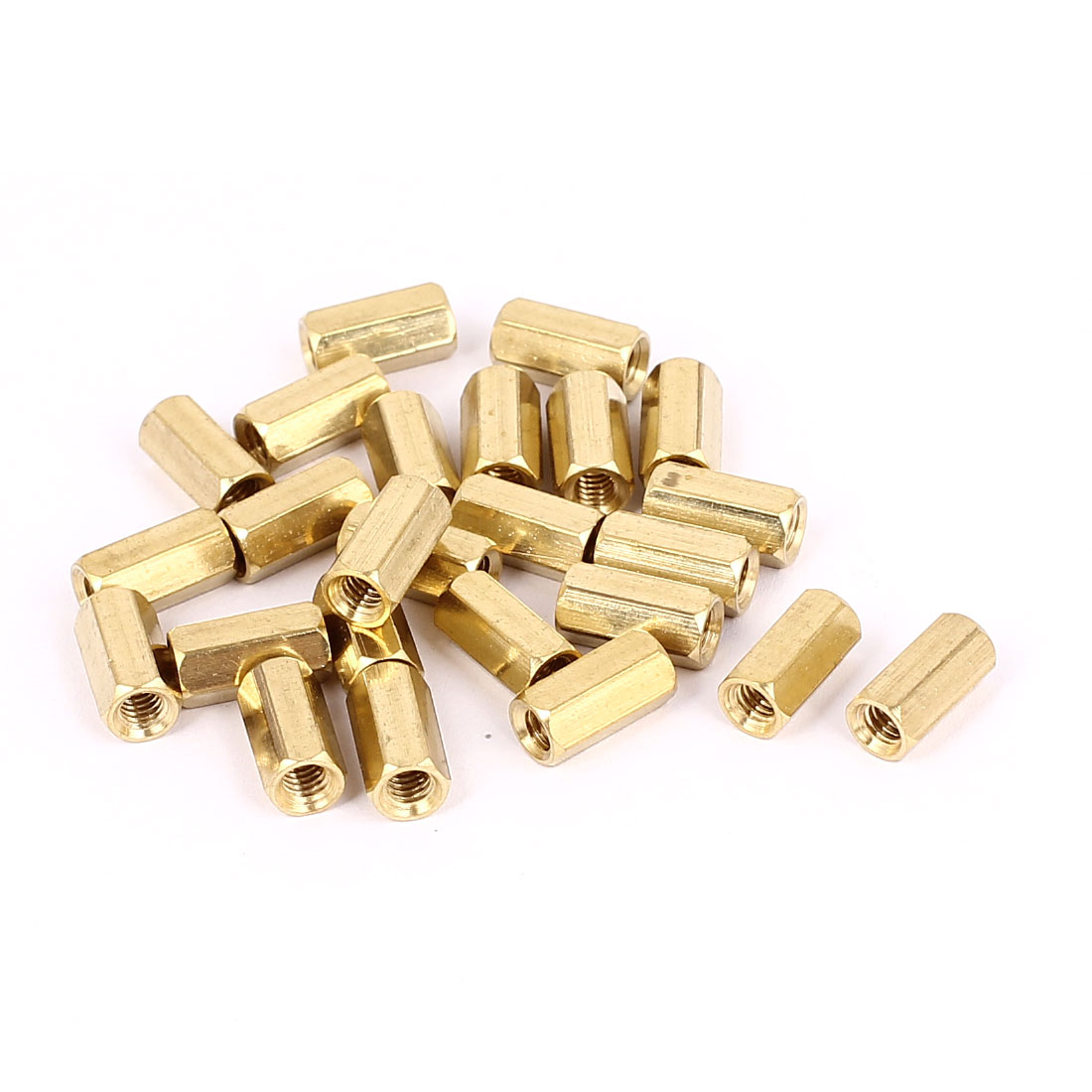 M4 x 12mm Female Thread Brass Hex Standoff Pillar Rod Spacer Coupler Nut 25pcs