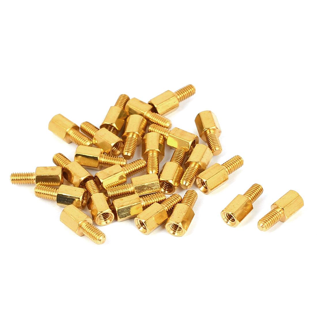 M3x6+6mm Female/Male Threaded Brass Hex Standoff Pillar Spacer Coupler Nut 25pcs