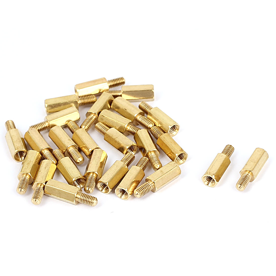 M3x10+6mm Female/Male Thread Brass Hex Standoff Pillar Spacer Coupler Nut 25pcs