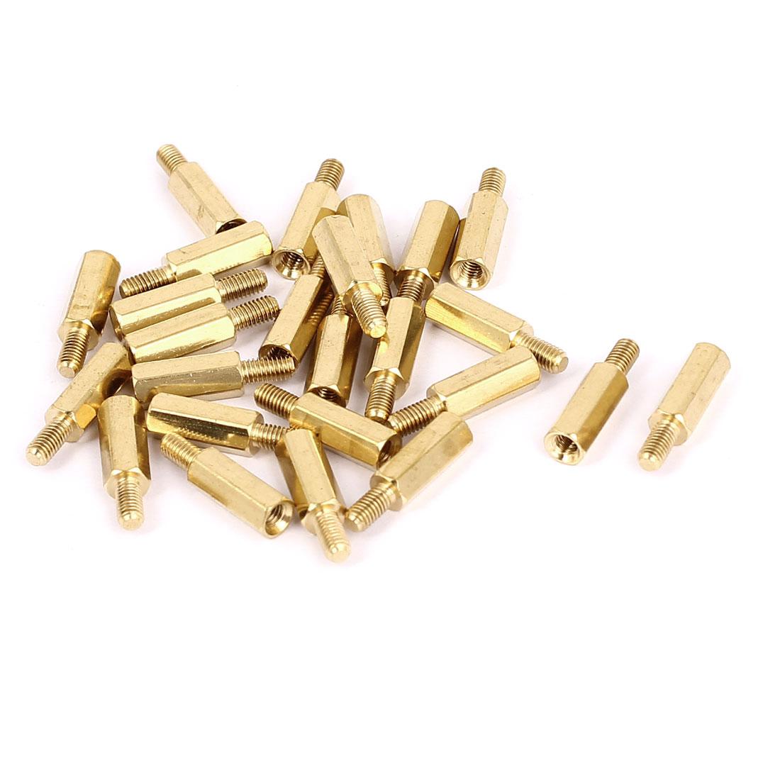 M3x12+6mm Female/Male Thread Brass Hex Standoff Pillar Spacer Coupler Nut 25pcs