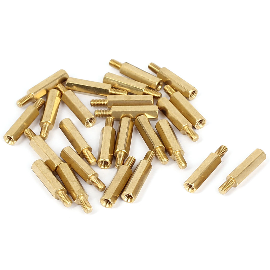 M3x16+6mm Female/Male Thread Brass Hex Standoff Pillar Spacer Coupler Nut 25pcs