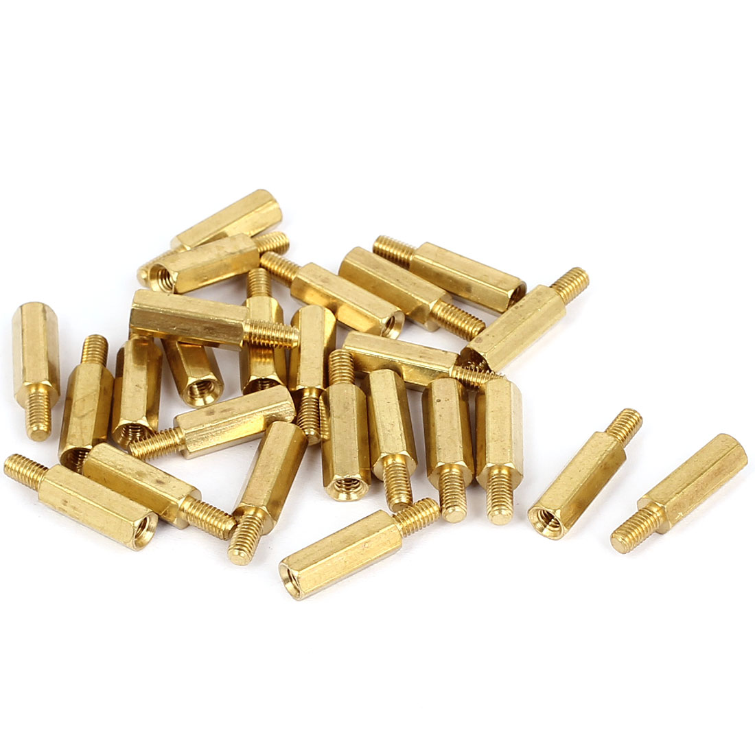 M3x13+6mm Female/Male Thread Brass Hex Standoff Pillar Spacer Coupler Nut 25pcs