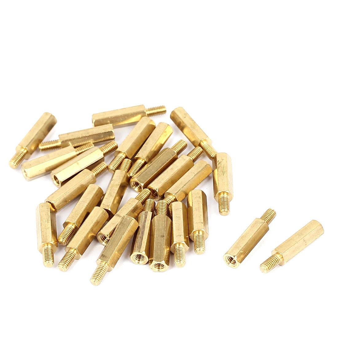 M3x15+6mm Female/Male Thread Brass Hex Standoff Pillar Spacer Coupler Nut 25pcs