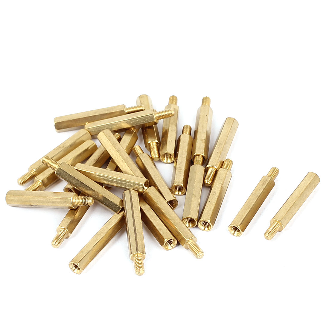 M3x24+6mm Female/Male Thread Brass Hex Standoff Pillar Spacer Coupler Nut 25pcs