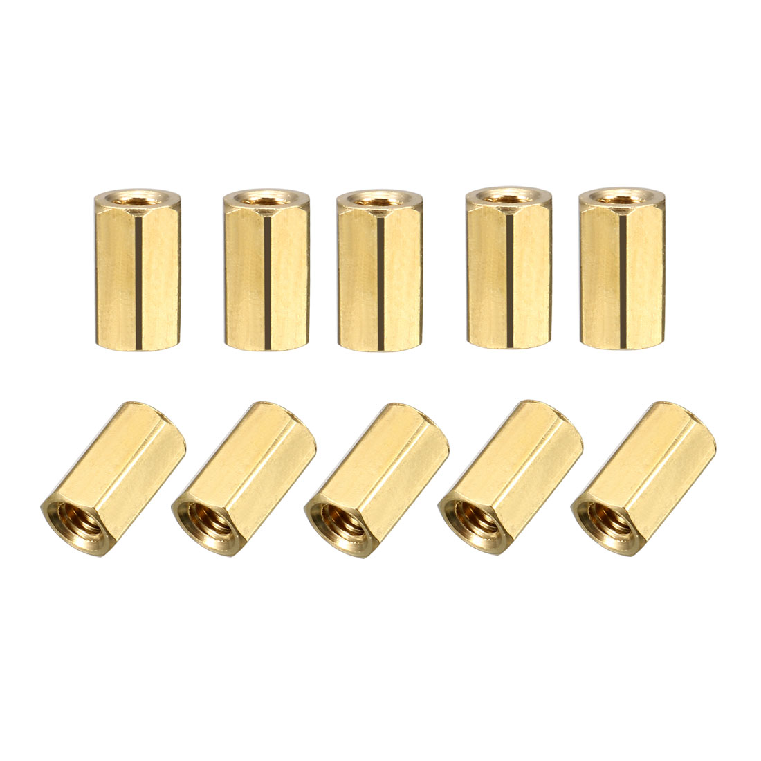 M3 x 8mm Female Threaded Brass Hex Standoff Pillar Rod Spacer Coupler Nut 25pcs