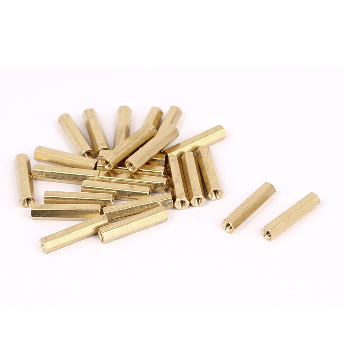 M3 x 22mm Female Thread Brass Hex Standoff Pillar Rod Spacer Coupler Nut 25pcs