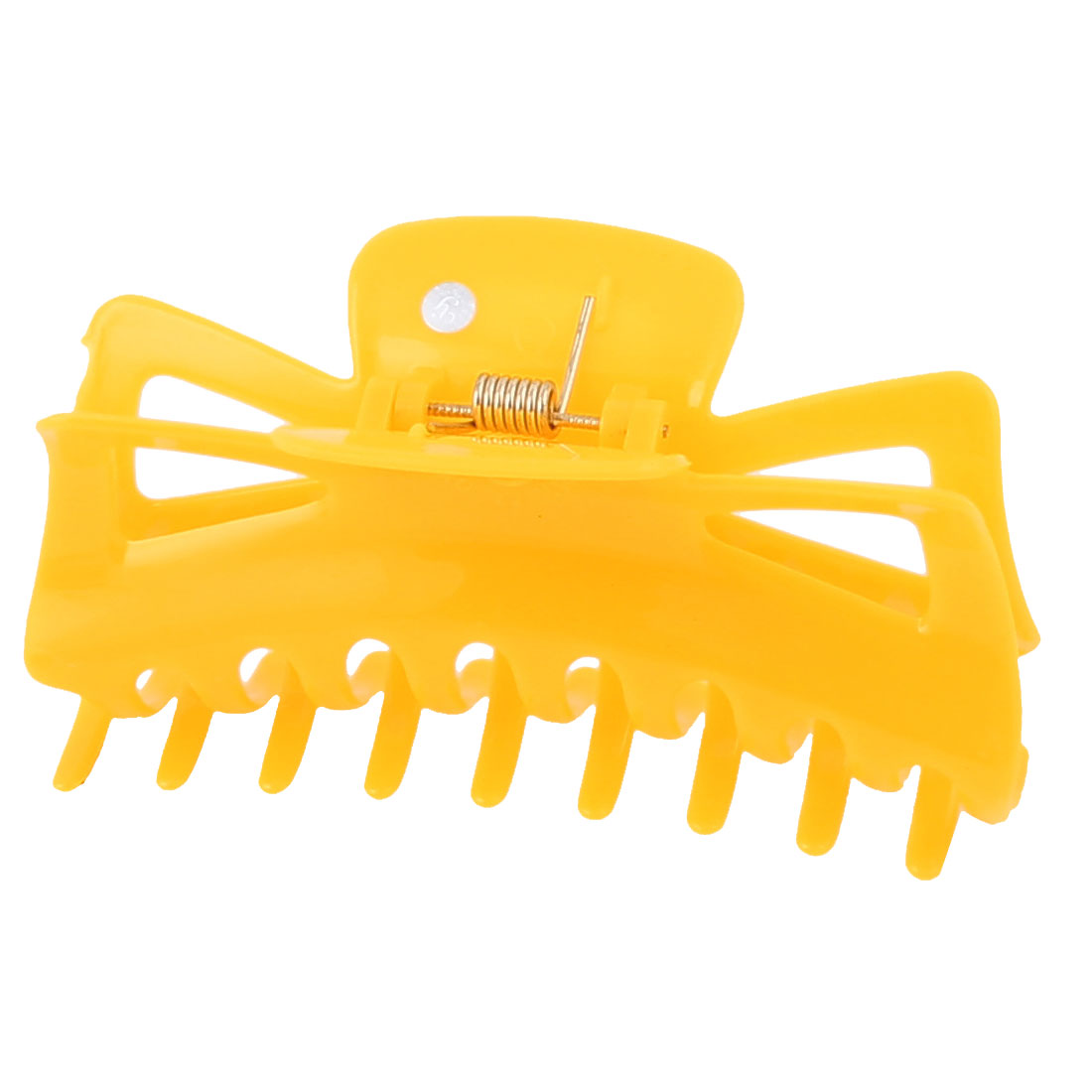 Plastic Spring Loaded Toothed Claw Hairclip DIY Hairstyle Hair Clip Yellow