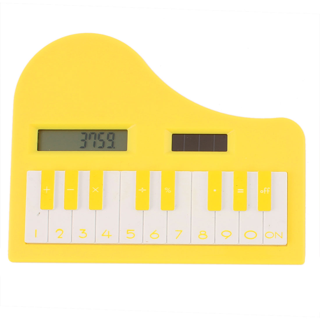 Yellow Plastic Shell Piano Shape Digits LCD Display Electronic Pocket Calculator