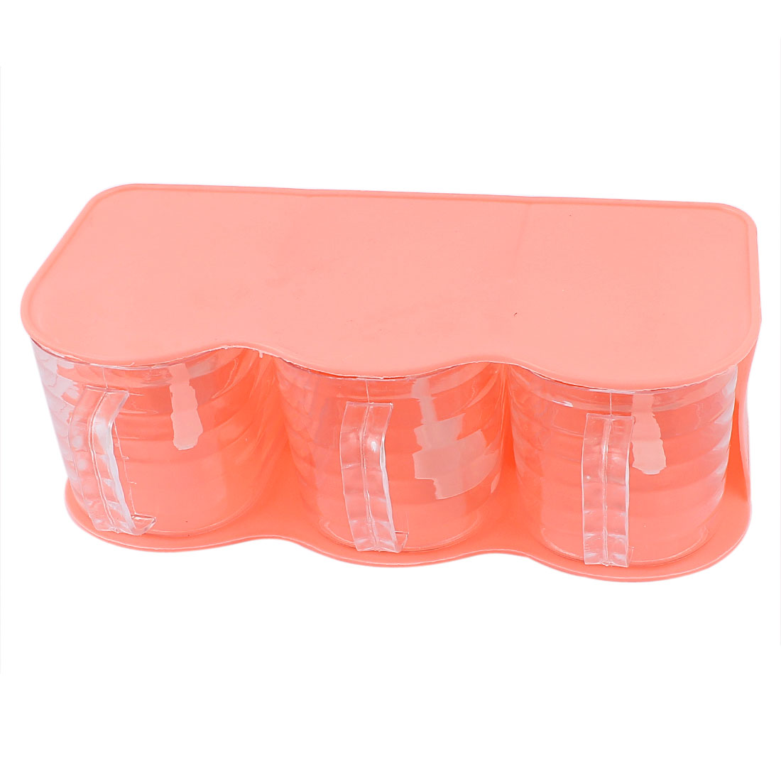 Plastic 3 Cells Spices Container Salt Pepper Condiment Dispenser Case Coral Pink