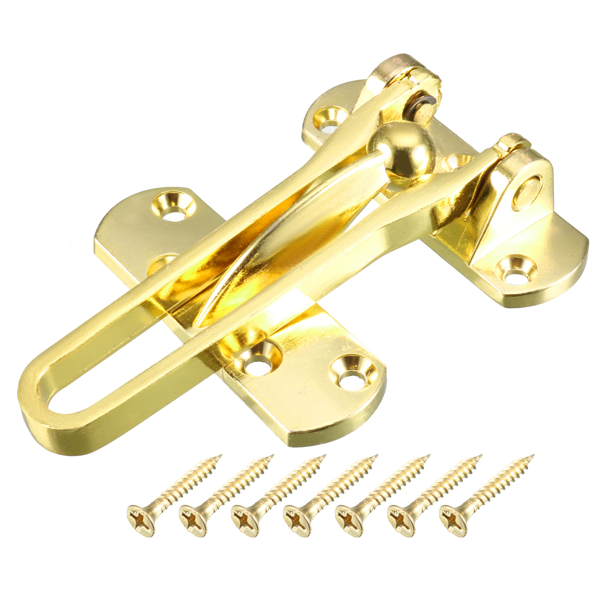 Household Door Restrictor Lock Catch Metal Safety Security Chain Latch Gold Tone