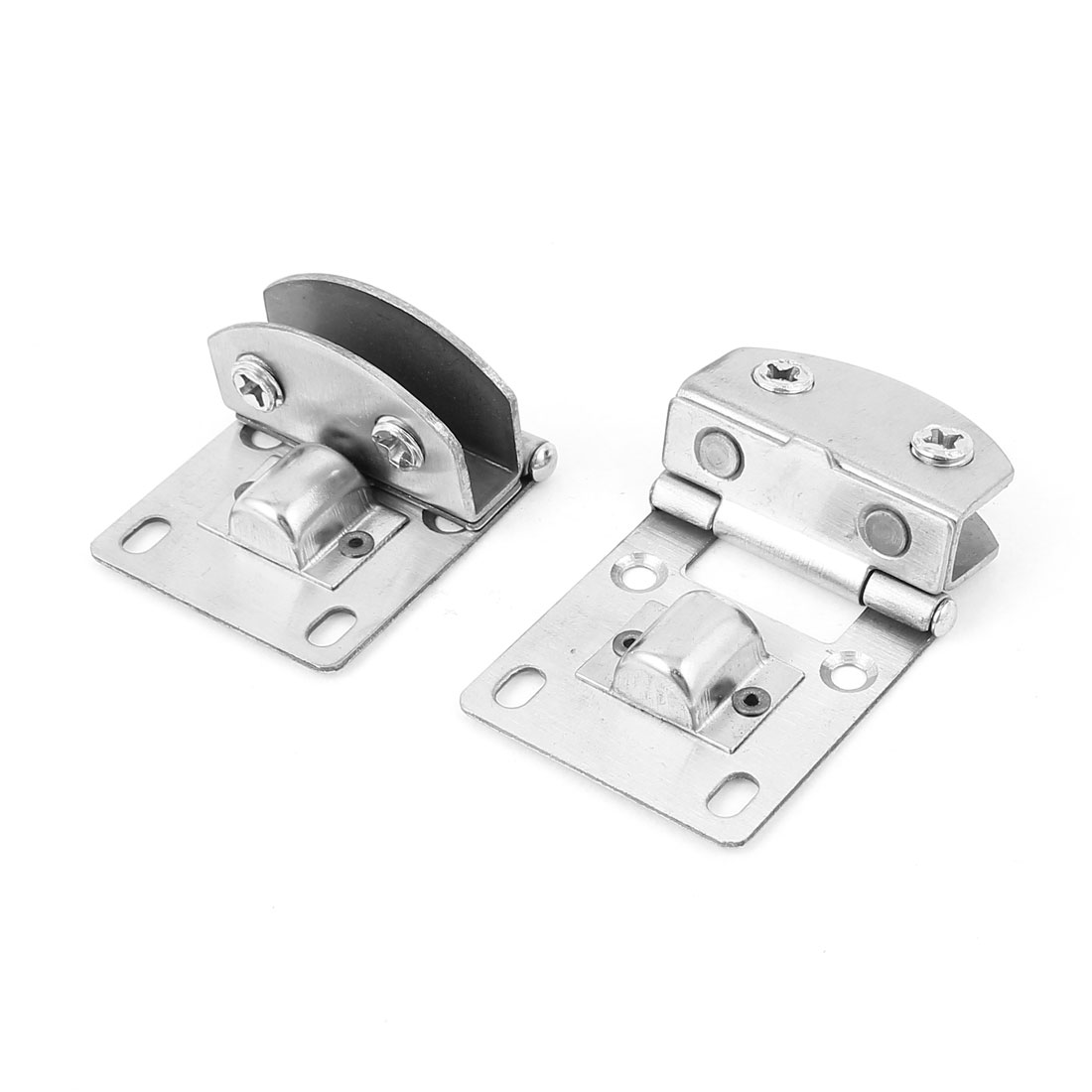 Aquarium Tank Bathroom Metal Hinge Style Glass Clip Support Holder 10mm 2 Pcs