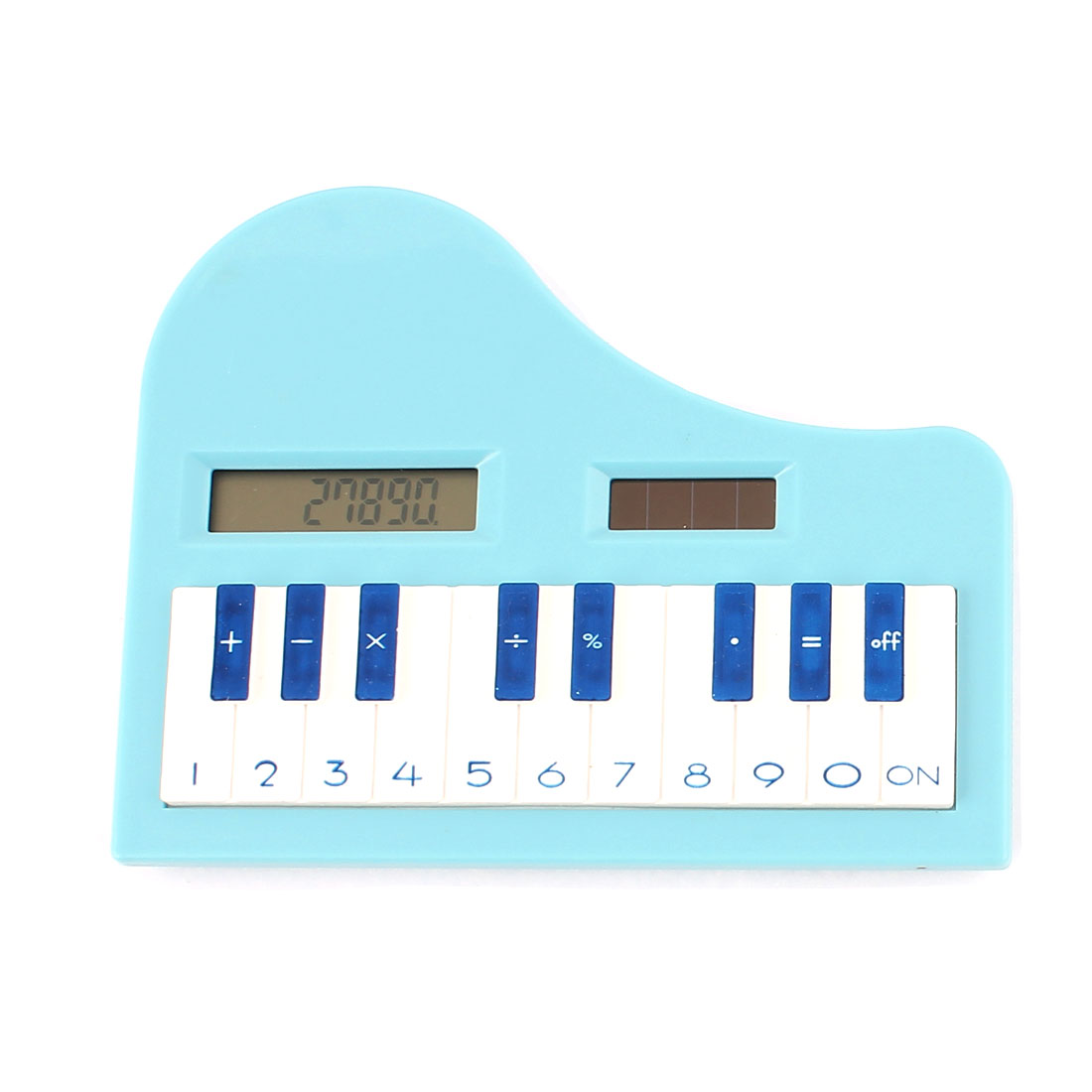 Piano Shape 8 Digits LCD Display Solar Power Electronic Pocket Calculator Blue