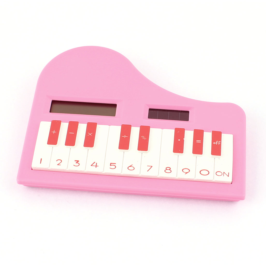 Piano Shape 8 Digits LCD Display Solar Power Electronic Pocket Calculator Pink