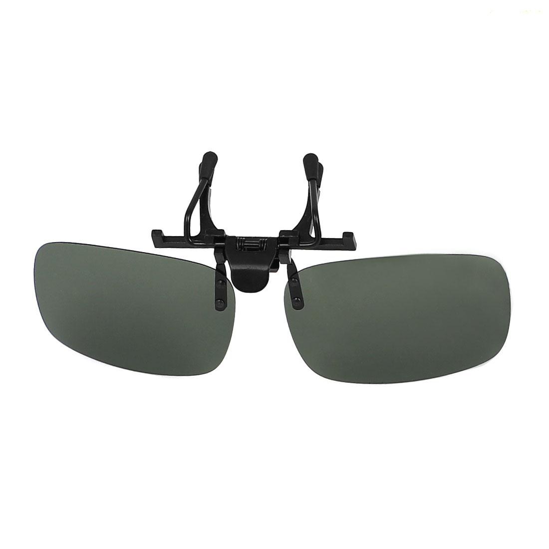 Unisex Dark Green Rectangle Lens Hiking Clip Polarized Sun Glasses w Case