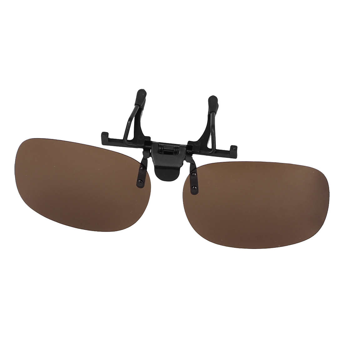 Unisex Brown Circular Lens Rimless Clip Polarized Sun Glasses w Case