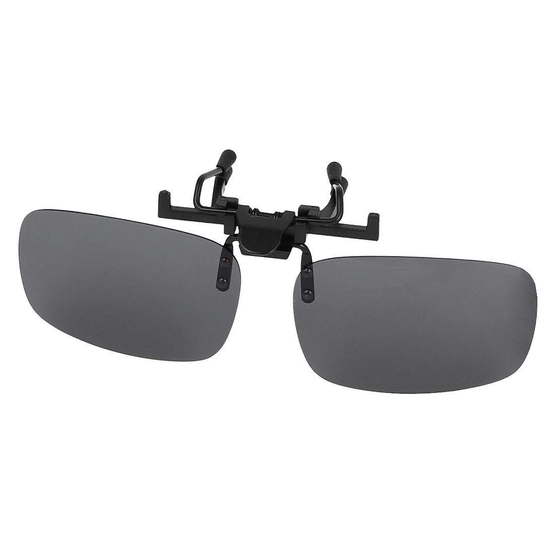 Unisex Dark Gray Rectangle Lens Hiking Clip Polarized Sun Glasses w Case
