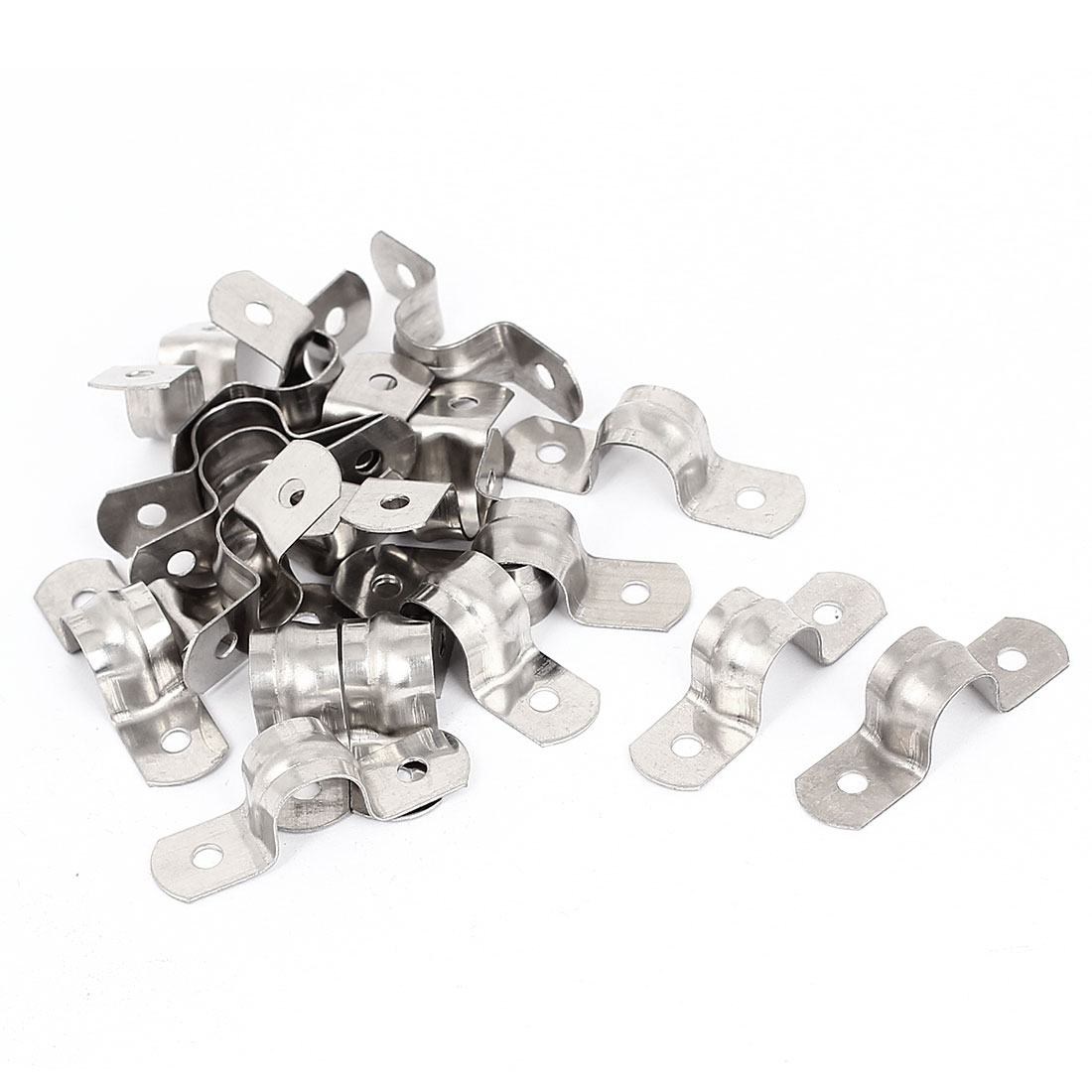 20pcs 2-Hole Metal Rigid Conduit Pipe Straps Clips Clamps for 12mm Dia Tube
