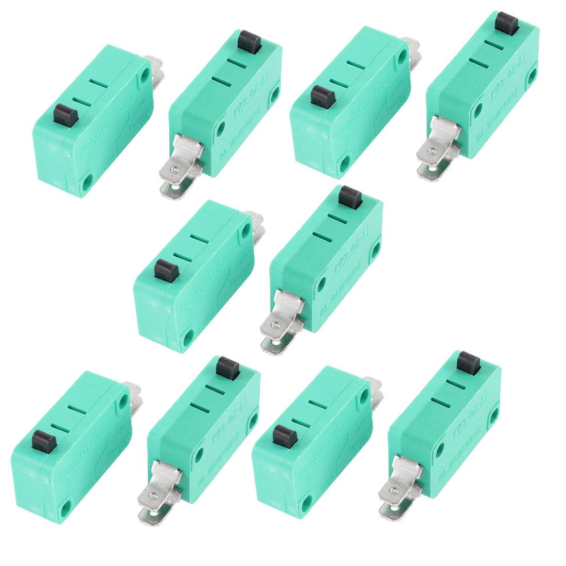 AC 250V/125V 10A 1 NO 1 NC Momentary Action 2 Terminals Micro Switch 10 Pcs