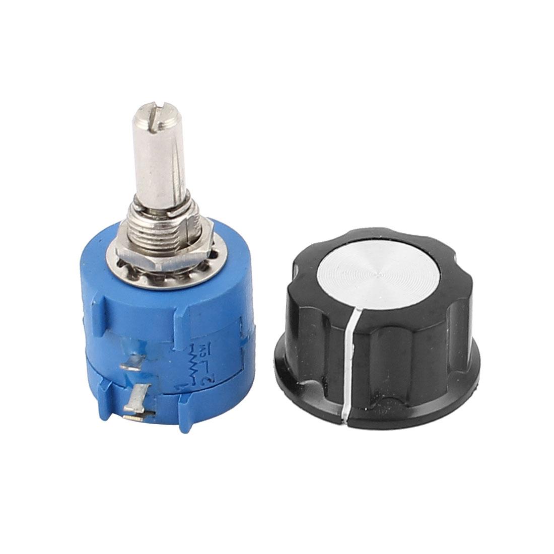 10K Ohm 6mm Shaft Diameter Rotary Wire Wound Potentiometer w Knob