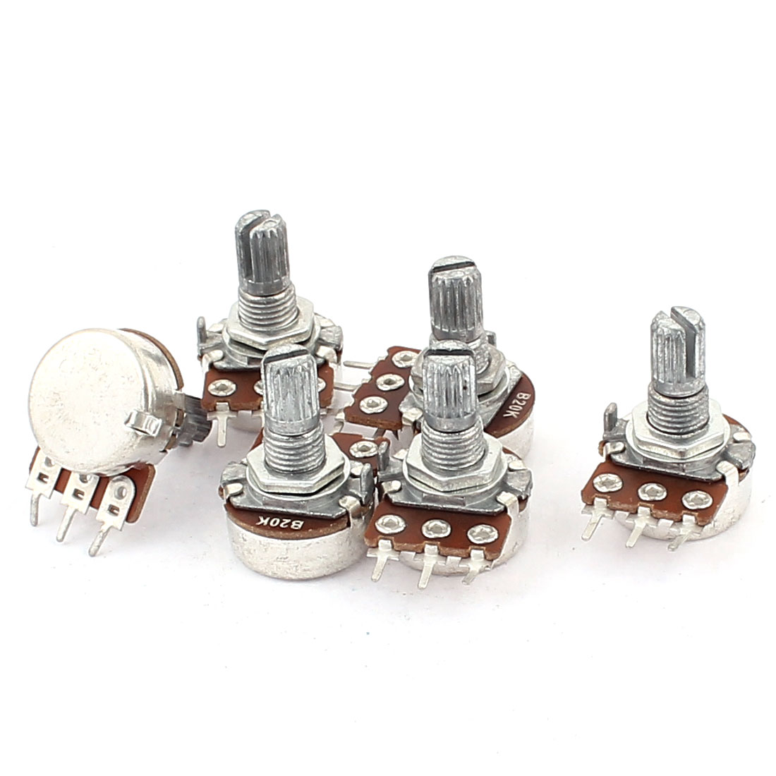 6Pcs B20K Type B 20K Ohm 3 Terminal Single Linear Rotary Taper Potentiometer