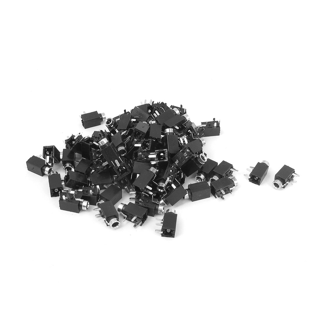 80 Pcs PCB Mounting 4 Terminals Female 2.5mm Stereo Audio Jack Socket Adapter Connector